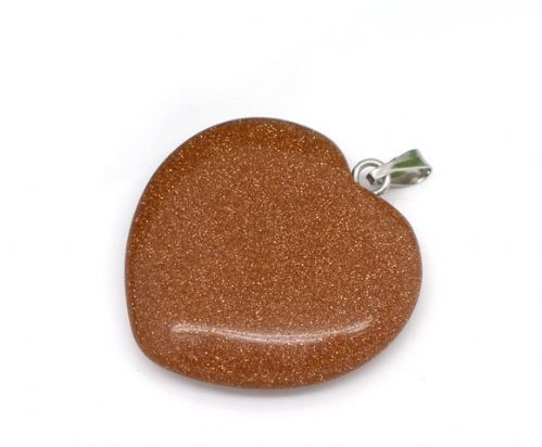 2 Goldstone Heart Pendants 25x25mm